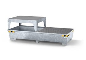 Spill pallet pro-line in steel for 2 IBCs, galv., dispensing platform and grid-w280px
