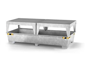 Spill pallet pro-line in steel for 2 IBCs, galvanised, 2 dispensing platforms-w280px