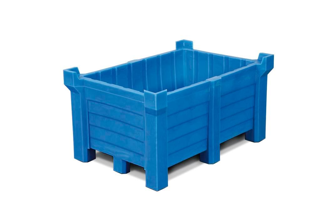Stackable container of polyethylene (PE) 260 litre contents, 240 litre capacity, closed, blue