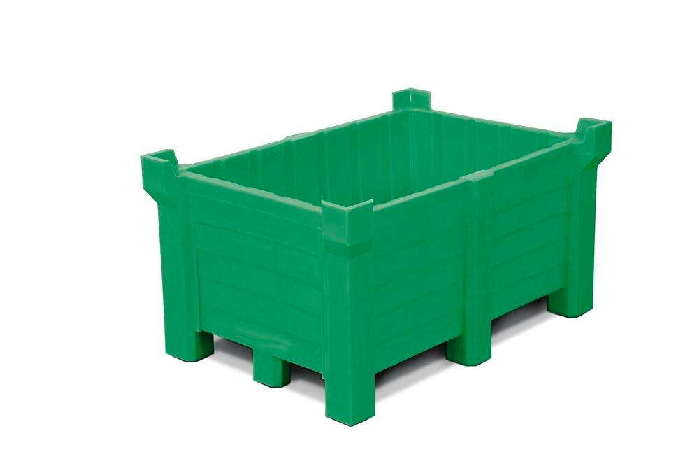 Stackable container of polyethylene (PE) 260 litre contents, 240 litre capacity, closed, green
