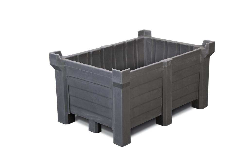 Stackable container of polyethylene (PE) 260 litre contents, 240 litre capacity, closed, grey