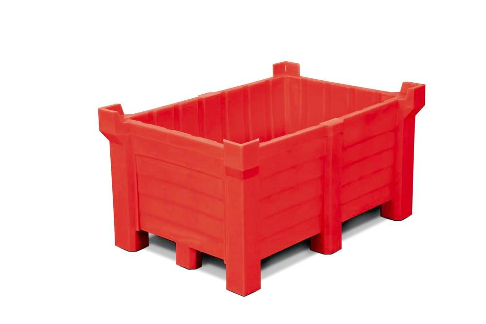 Stackable container of polyethylene (PE) 260 litre contents, 240 litre capacity, closed, red - 1