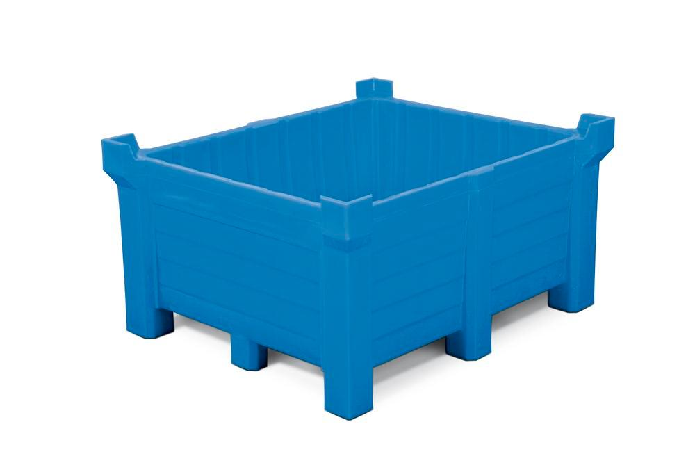 Stackable container of polyethylene (PE) 400 litre contents, 360 litre capacity, closed, blue