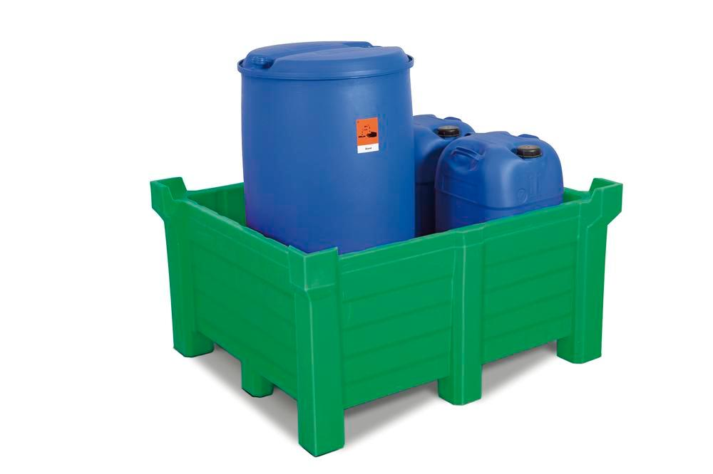 Stackable container of polyethylene (PE) 400 litre contents, 360 litre capacity, closed, green