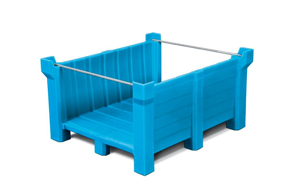Stackable container of polyethylene (PE) 400 litre volume, front open, blue
