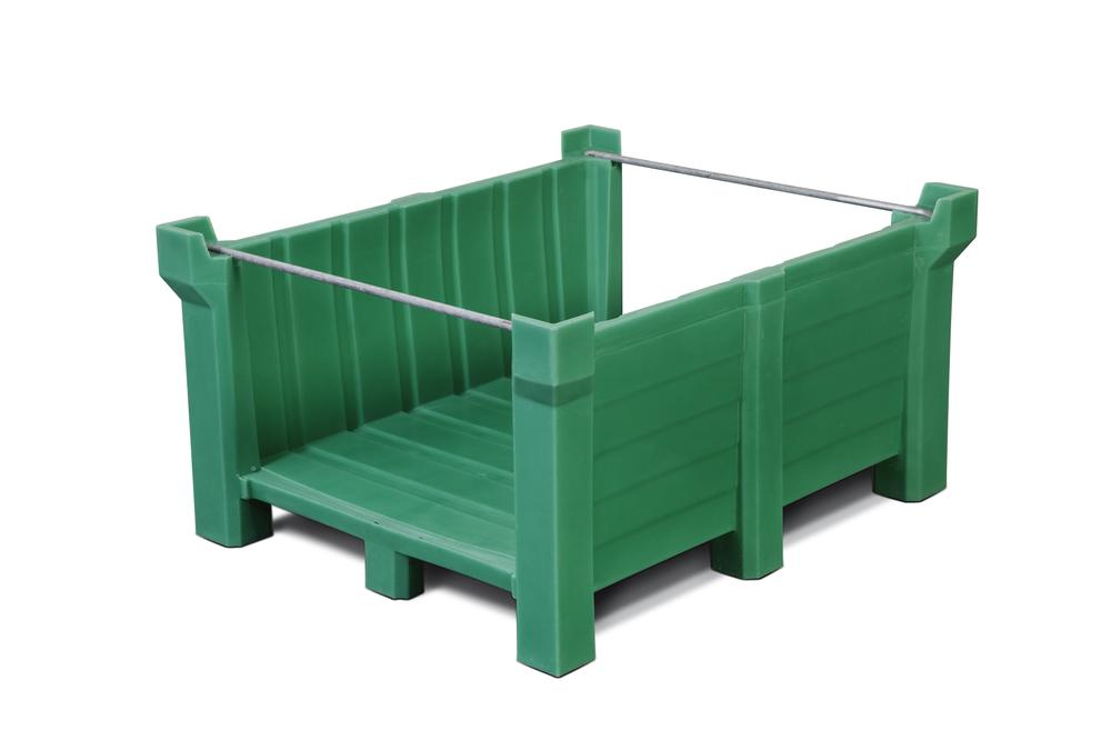 Stackable container of polyethylene (PE) 400 litre volume, front open, green