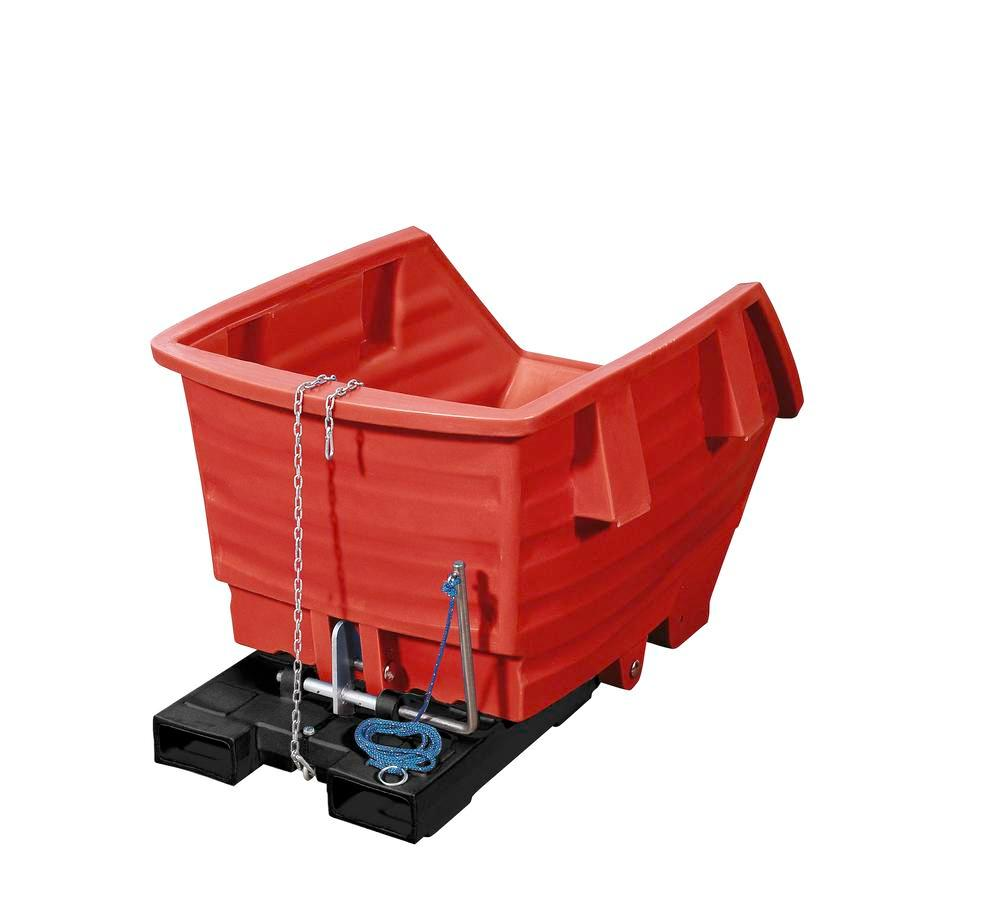 Tilting trolley made from Polyethylene (PE), with forklift pockets, 1000 litre volume, red