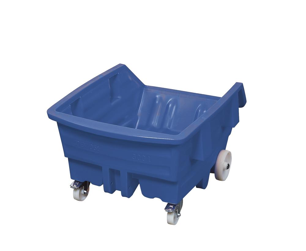 Tipping container of polyethylene (PE) with castors, 300 litre volume, blue