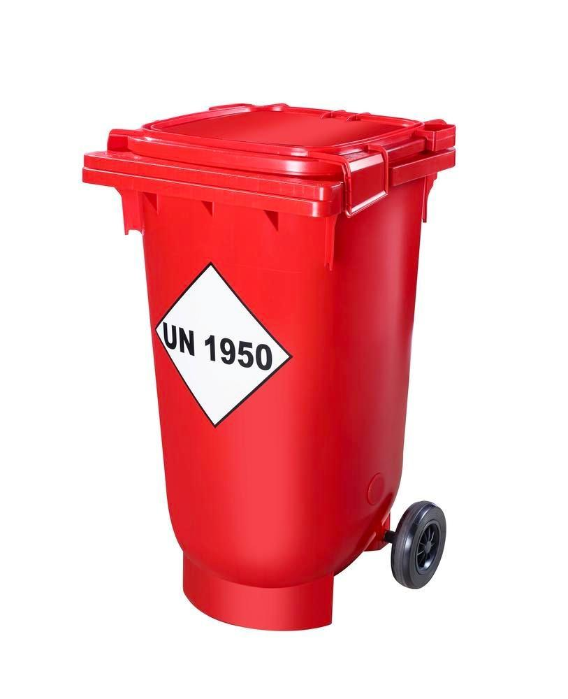 Transport bin with UN approval for empty and partially empty spray cans, 200 litre