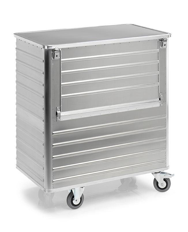 Transport container TW 1050-B, with lid, fold-down flap, 2 swivel and 2 fixed wheels, 1050 litres