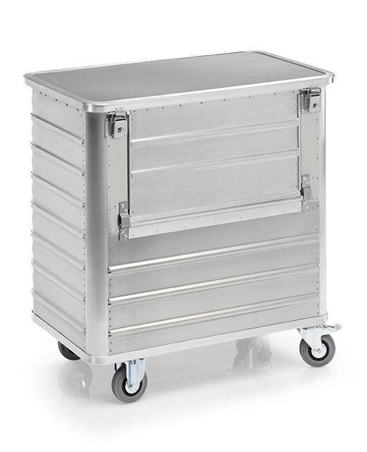 Transport container TW 360-B, with lid, fold-down flap, 2 swivel and 2 fixed wheels, 360 litres
