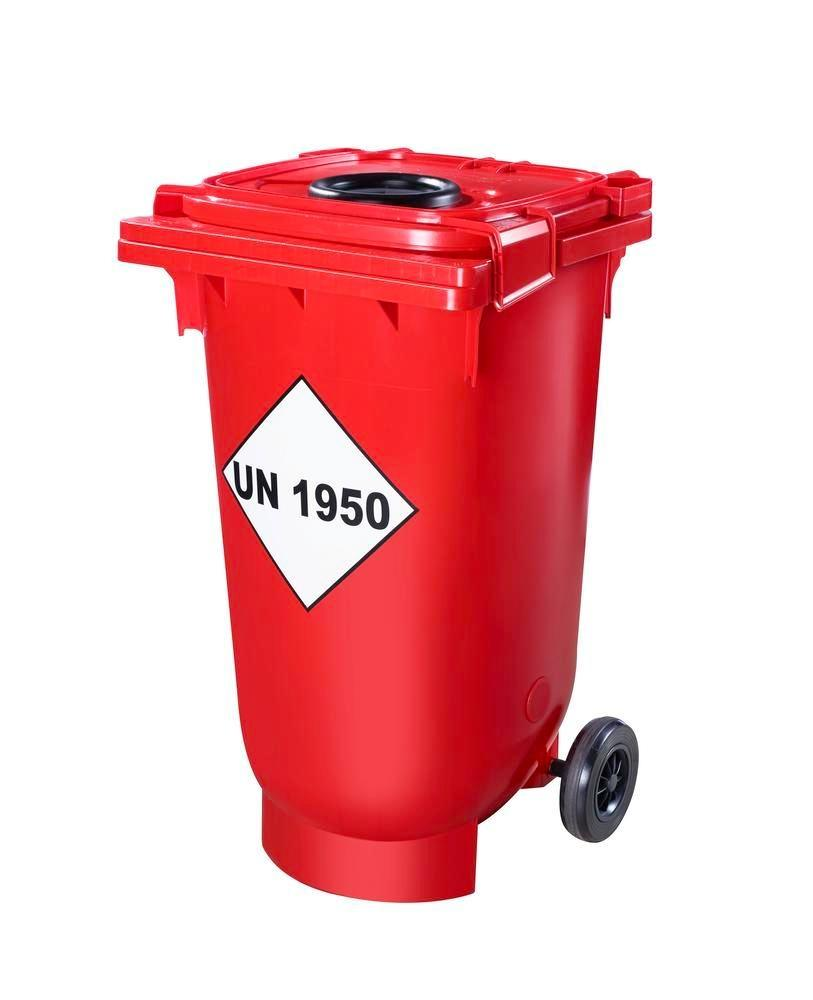 Transport container with UN approval and opening for empty and partially empty spray cans, 200 litre
