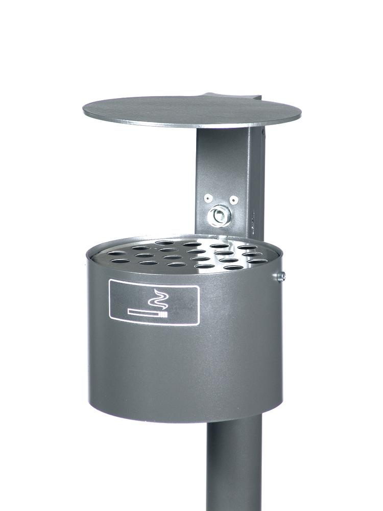 Ashtray with hood, galvanized steel, 4 litre capacity, rround, crimson