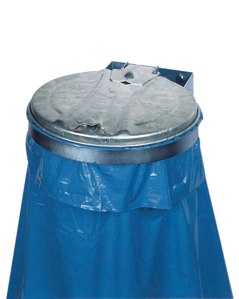 Bin bag holder, galvanized steel, with steel lid, wall mounted