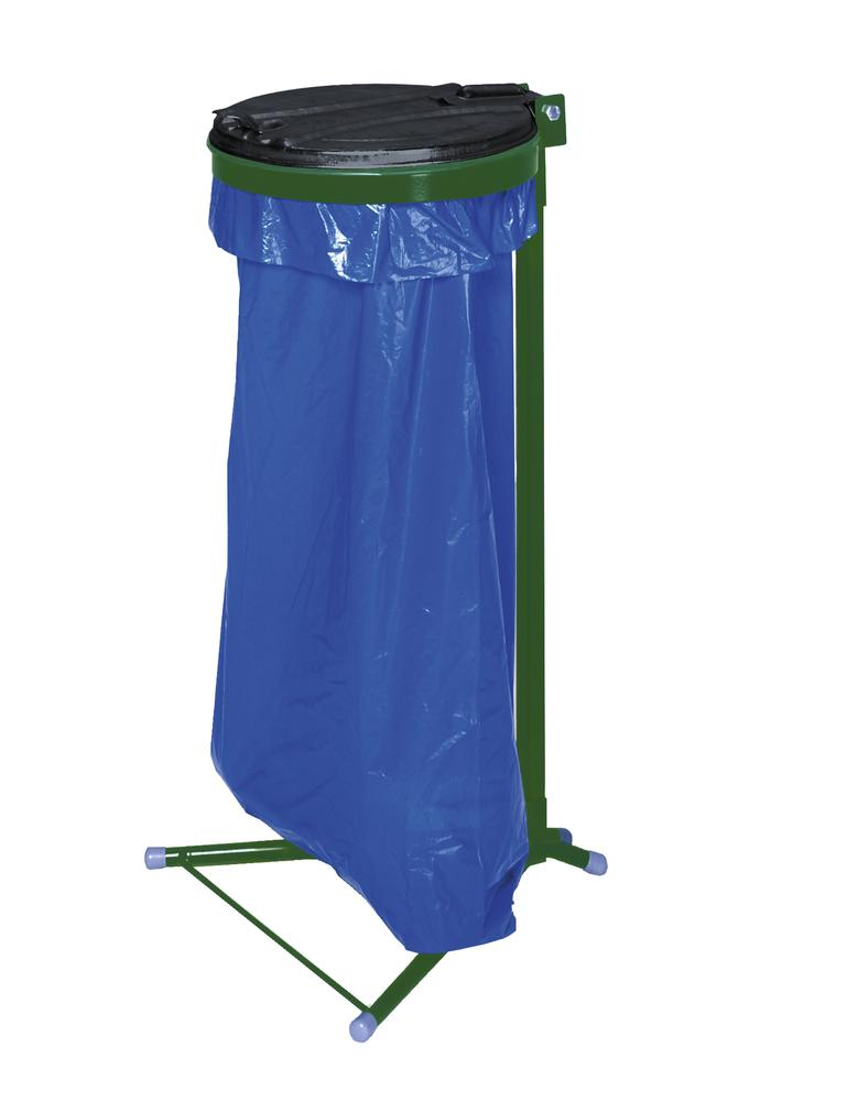 Bin bag holder, powder coated steel, with plastic lid, free-standing
