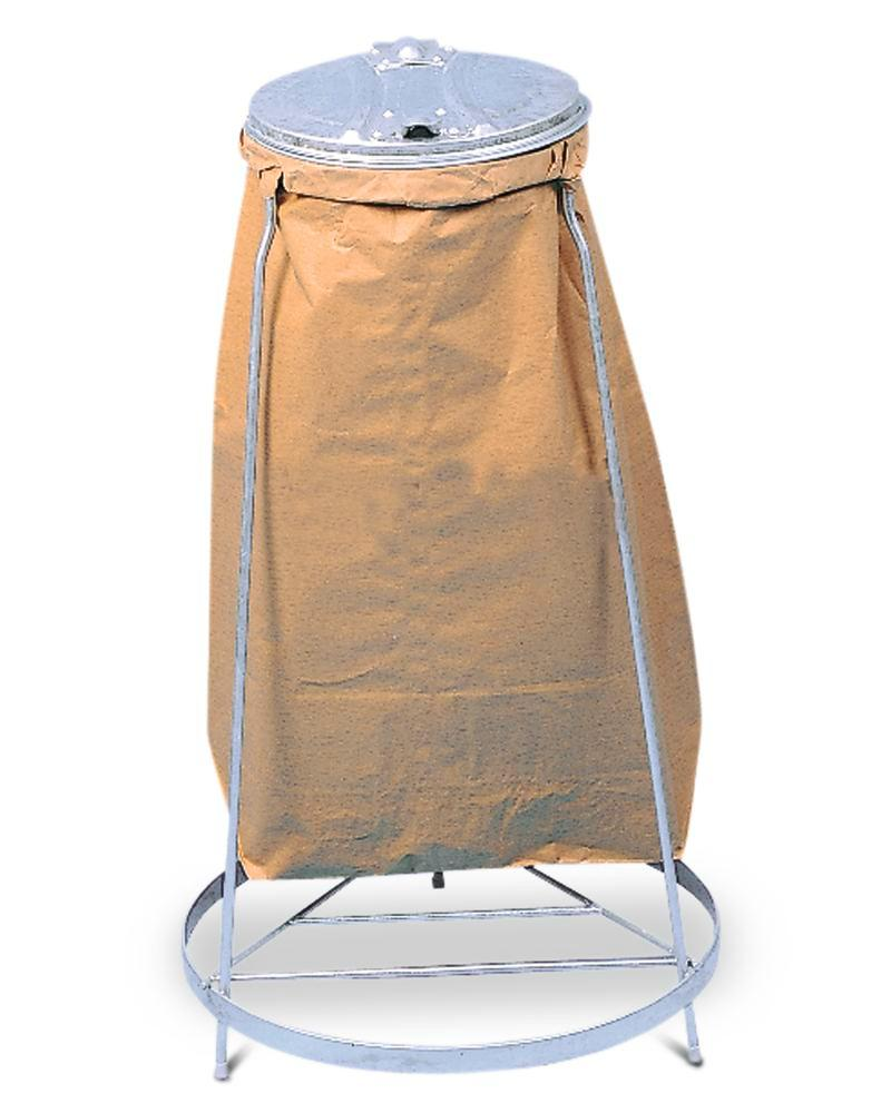 Bin bag stand, galvanized steel, with polyethylene llid, for 120 litre bin bags, stationary version