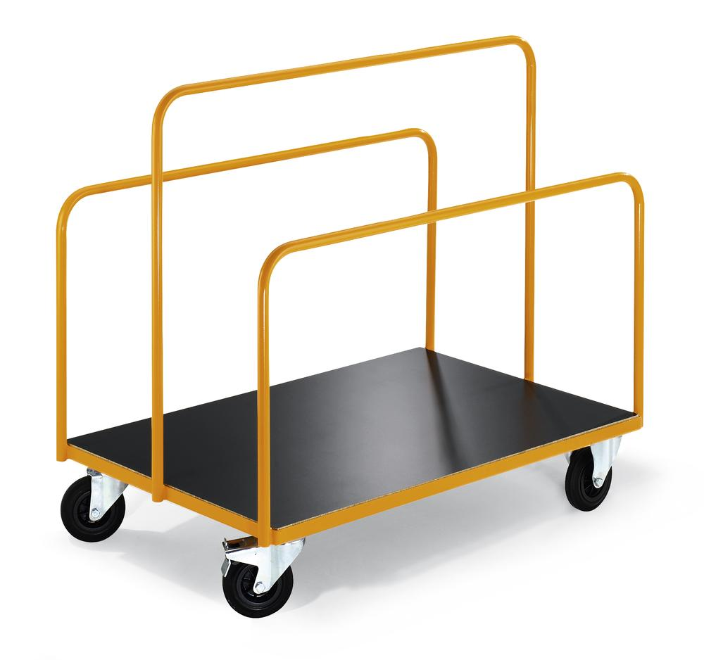 Board trolley Basic PTW, 1250 x 800mm, 3 fixed frames, solid rubber tyres, yellow