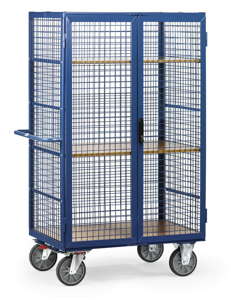 Box trolley with mesh sides, 3 levels, lockable double wing doors, 1000x700 mm