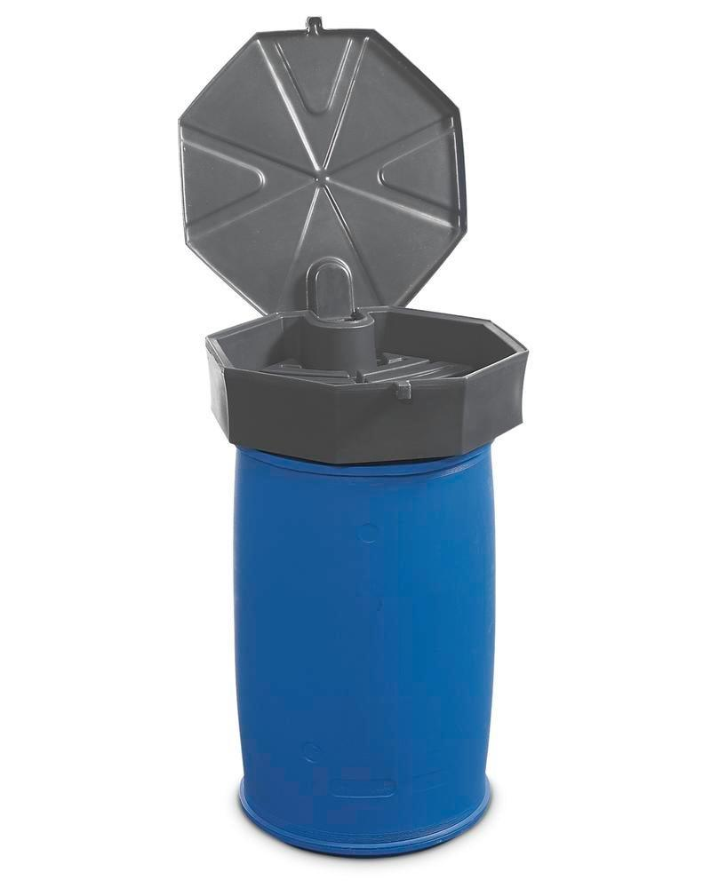 Drum funnel in polyethylene (PE), honeycomb design, 22 L volume, with lid