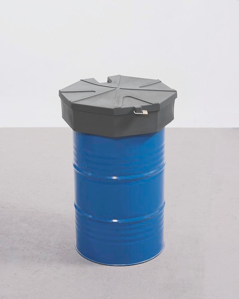 Drum funnel in polyethylene (PE), honeycomb design, 22 L volume, with strainer and lid
