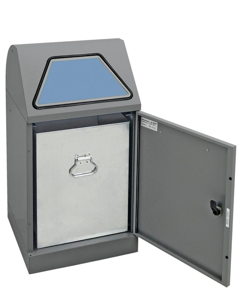 Fire-retard. recyclable mat. cont., hand operated, galv. inner cont., 120 litre volume, grey/grey - 1