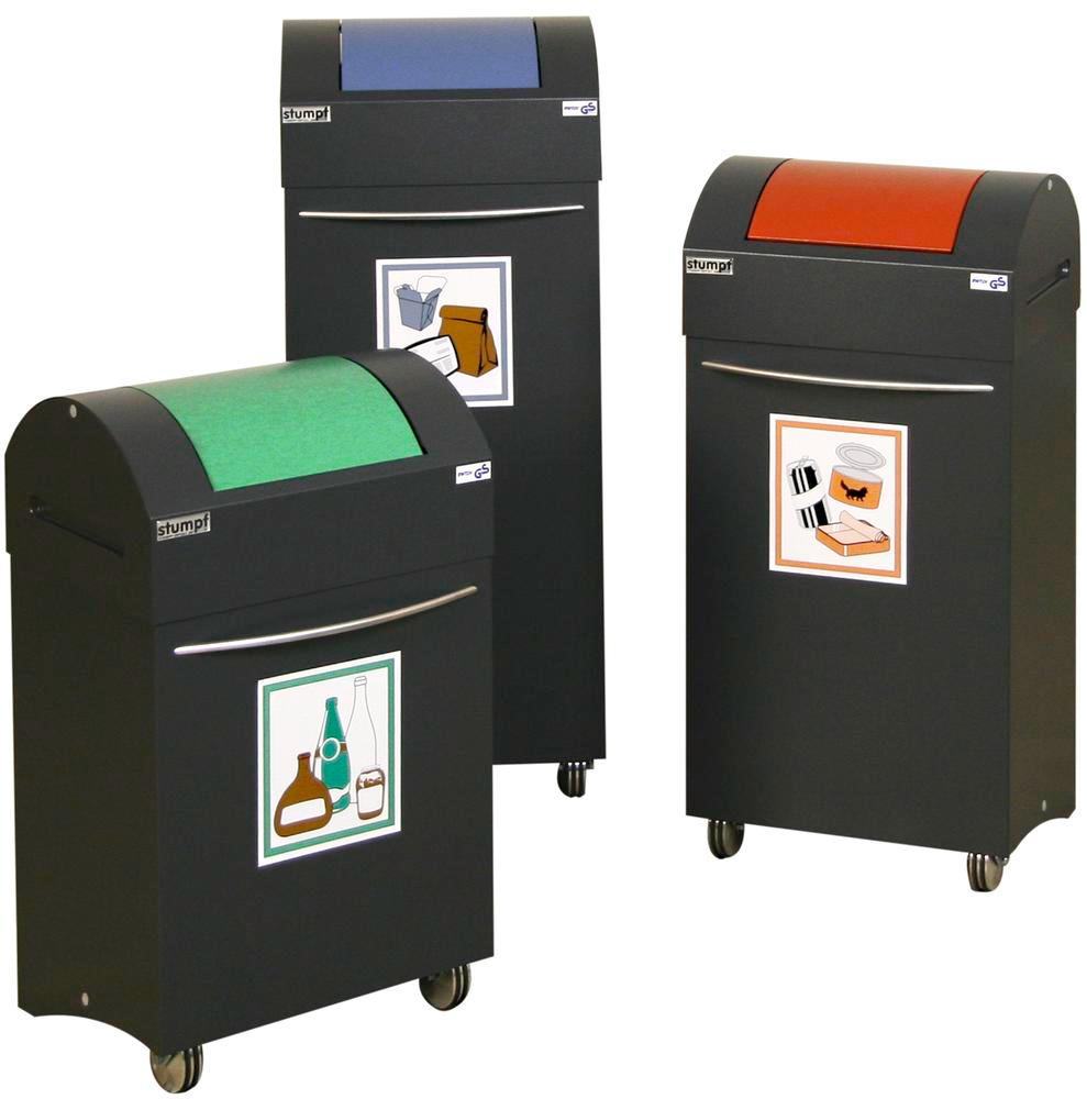 Fire retardant recycling bin, steel, with 2 wheels, 45 litre capacity, black / red