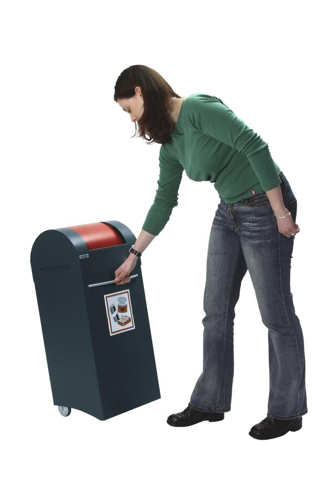 Fire retardant recycling bin, steel, with 2 wheels, 60 litre capacity, anthracite/ red