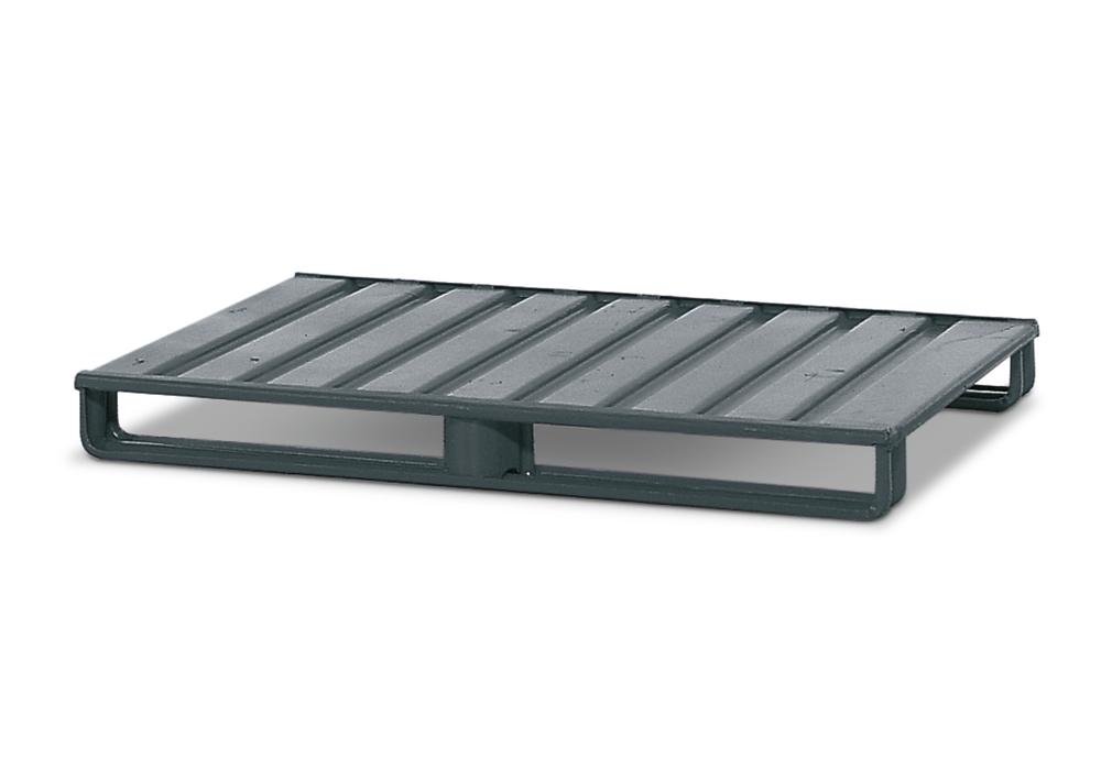 Flat pallet FP 10, steel, W x D x H 1200 x 800 x 125 mm, painted grey