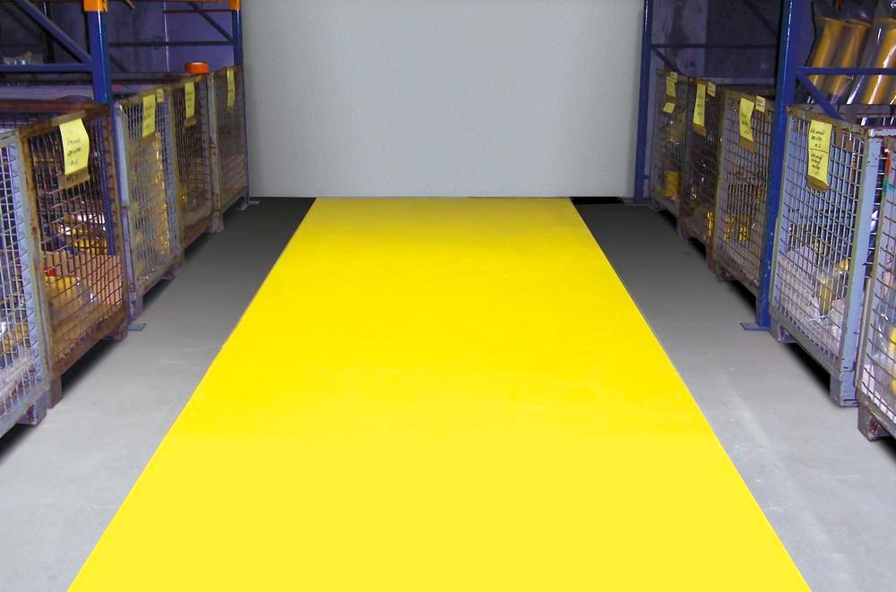 Floor marking paint, suitable for forklifts, 5l for approx. 20 - 25 m2, yellow, RAL 1003