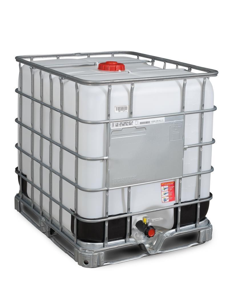 IBC hazardous goods container, Ex Design, EVOH, steel runners, 1000 litre, NW150 opening, NW50 drain