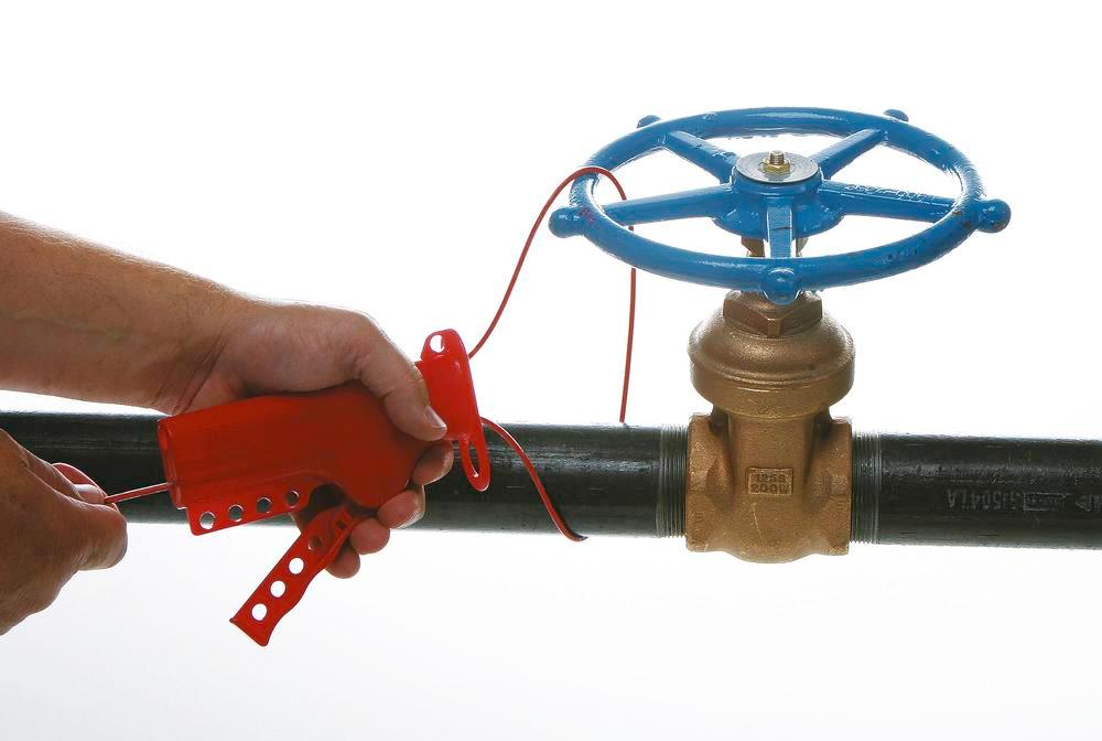 Locking system with vinyl coated steel cable, 2.44 M, for valves, isolating switches etc. - 1