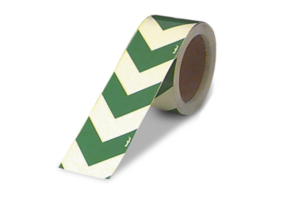 Marker tape / arrow, green/luminescent, foil 25 m x 30 mm