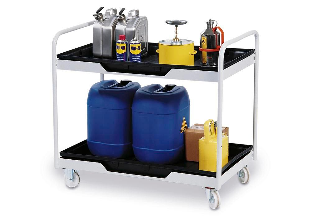 Mobile work table with 2 PE sump pallets, collection volume 2 x 30 litre - 1