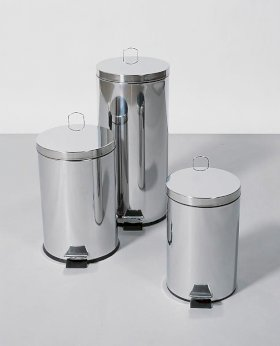Pedal bin, stainless steel, round, with foot pedal, 12 litre capacity-w280px