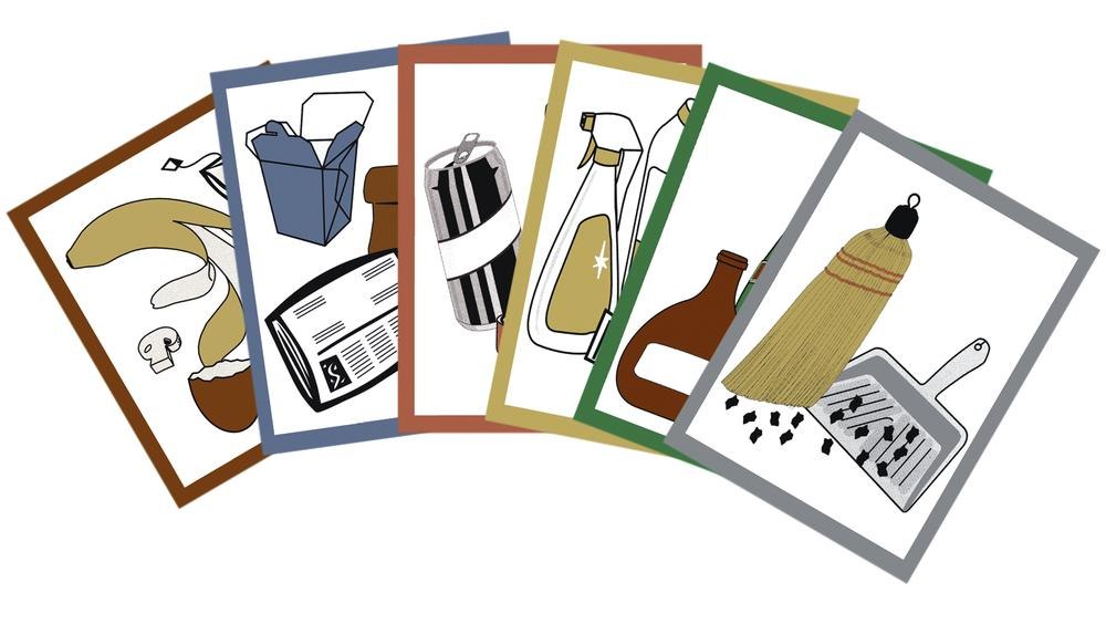 Pictogram set for waste separation containers, consisting of 6 symbols, coloured, self-adhesive - 1