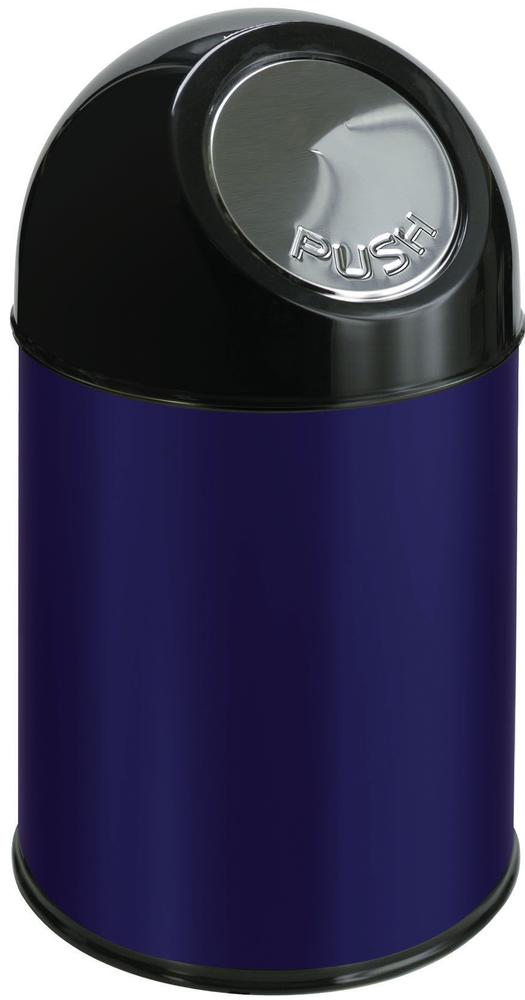 Push waste bin in steel, 30 litre volume, blue