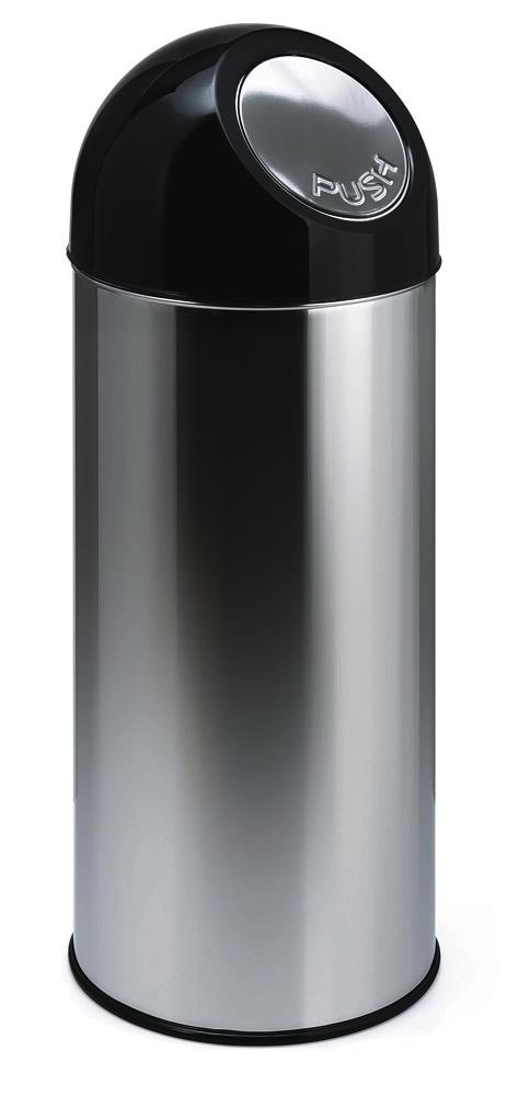 Push waste bin in steel, 40 litre volume, with inner container, black