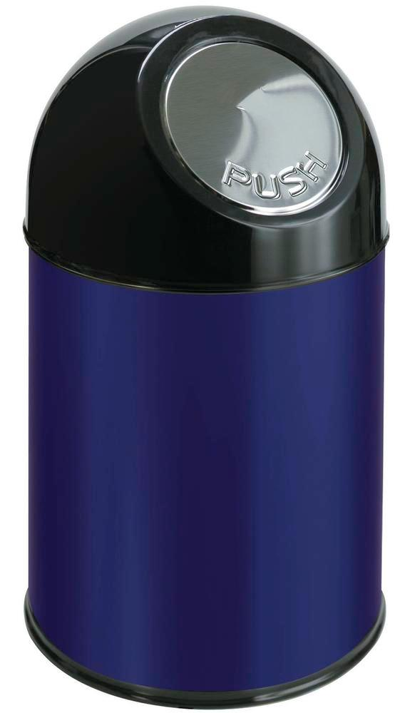 Push waste bin in steel, with inner container, 30 litre volume, blue