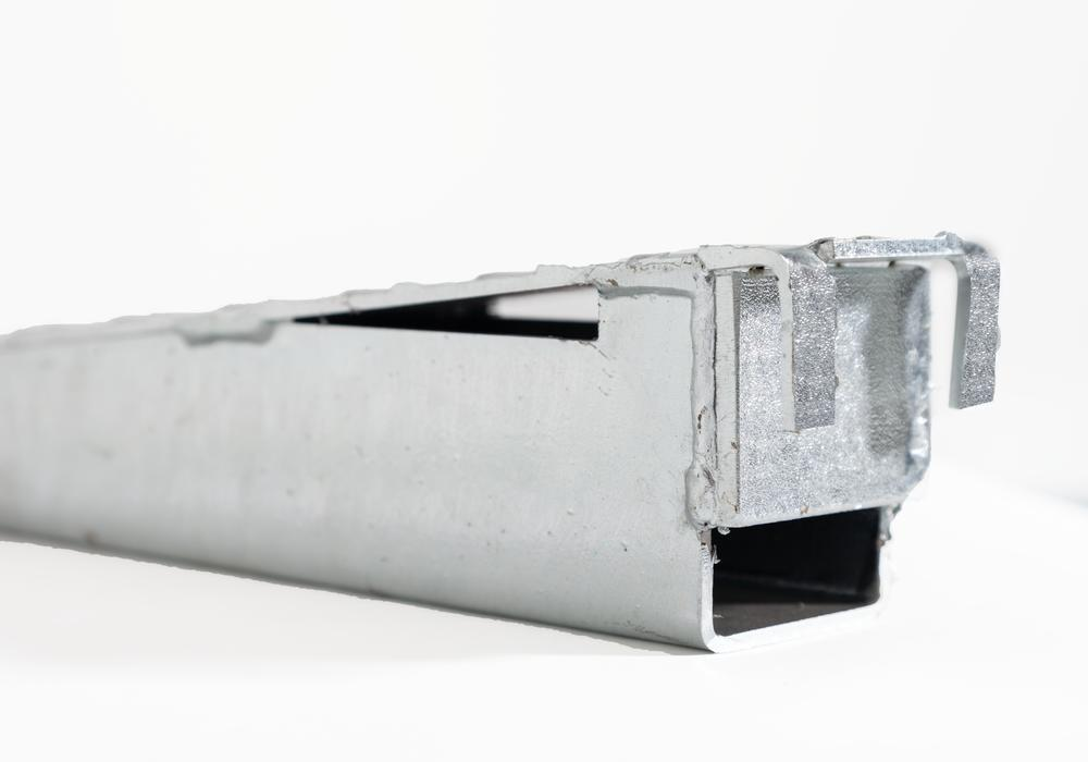 Ramp connector for spillage decking in steel, height 123 mm
