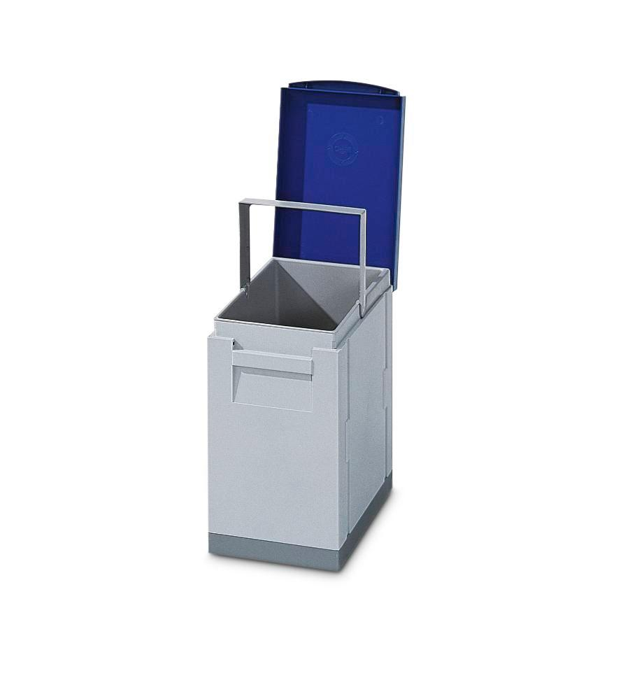 Recyclable materials collection station with red folding cover, 15 litre volume