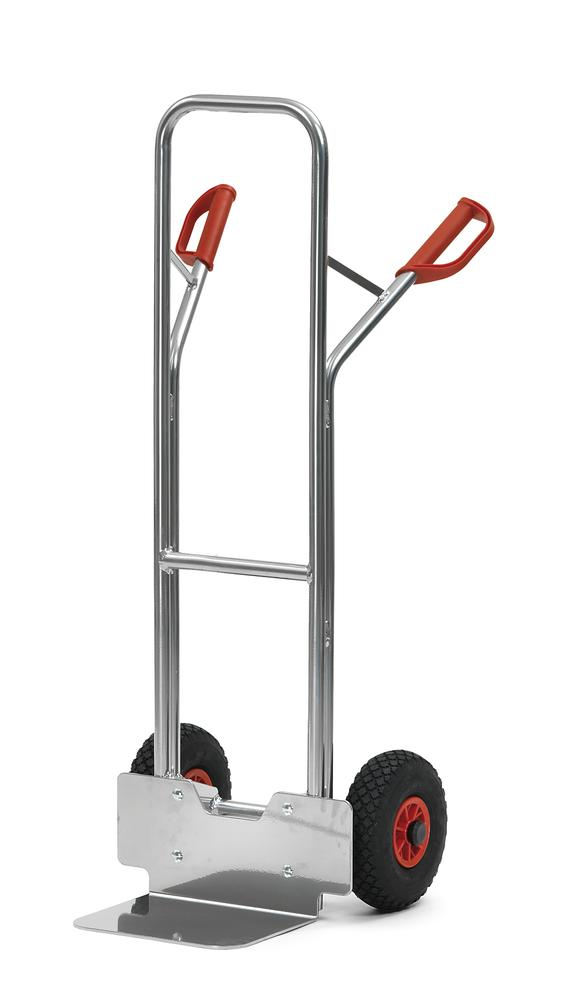 Sack truck for boxes A3 in aluminium, with safety handles and wheel protection, pneumatic tyres