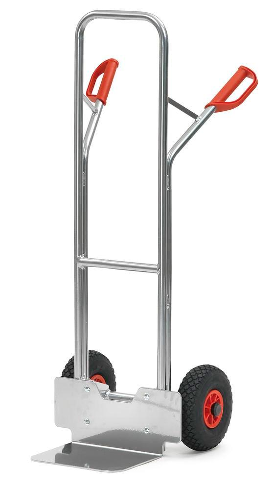 Sack truck for boxes K3 in steel, with safety handles and wheel protection, pneumatic tyres