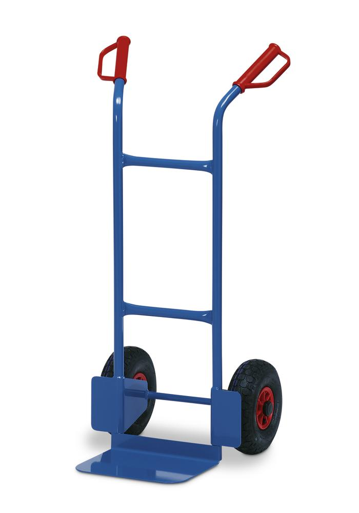 Sack truck TK 2, steel, with safety handles, load capacity 200 kg, solid rubber tyres