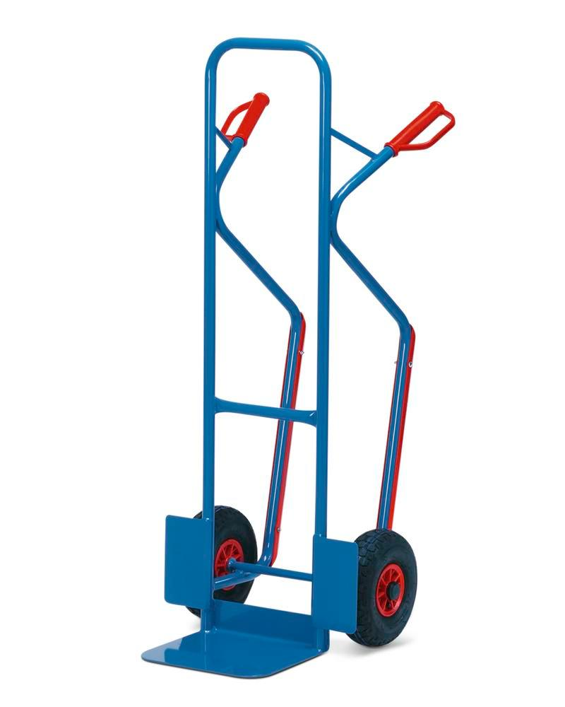Sack truck TK 3 L, steel, with safety handles, load capacity 300 kg, solid rubber tyres - 1