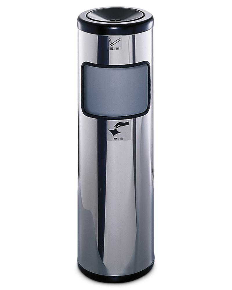 Safety ash tray stand with waste bin, in stainless steel, 25 litre volume