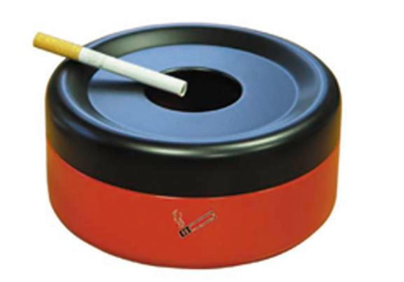 Safety table-top ashtray, corrosion-free, red/black