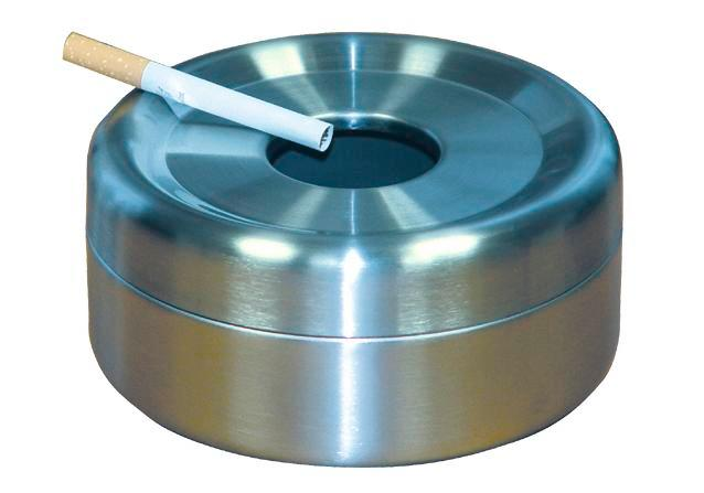 Safety table-top ashtray in st. steel
