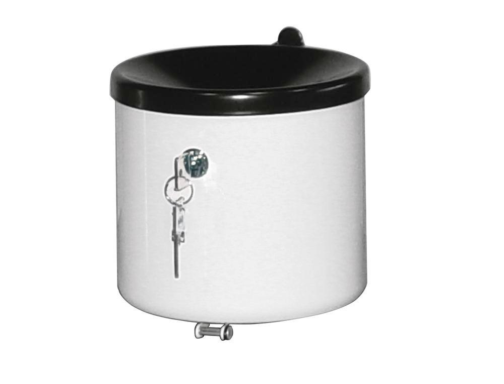 Self-extinguishing ash tray, painted steel, lockable, wall mounted, 2.4 litre capacity, silver