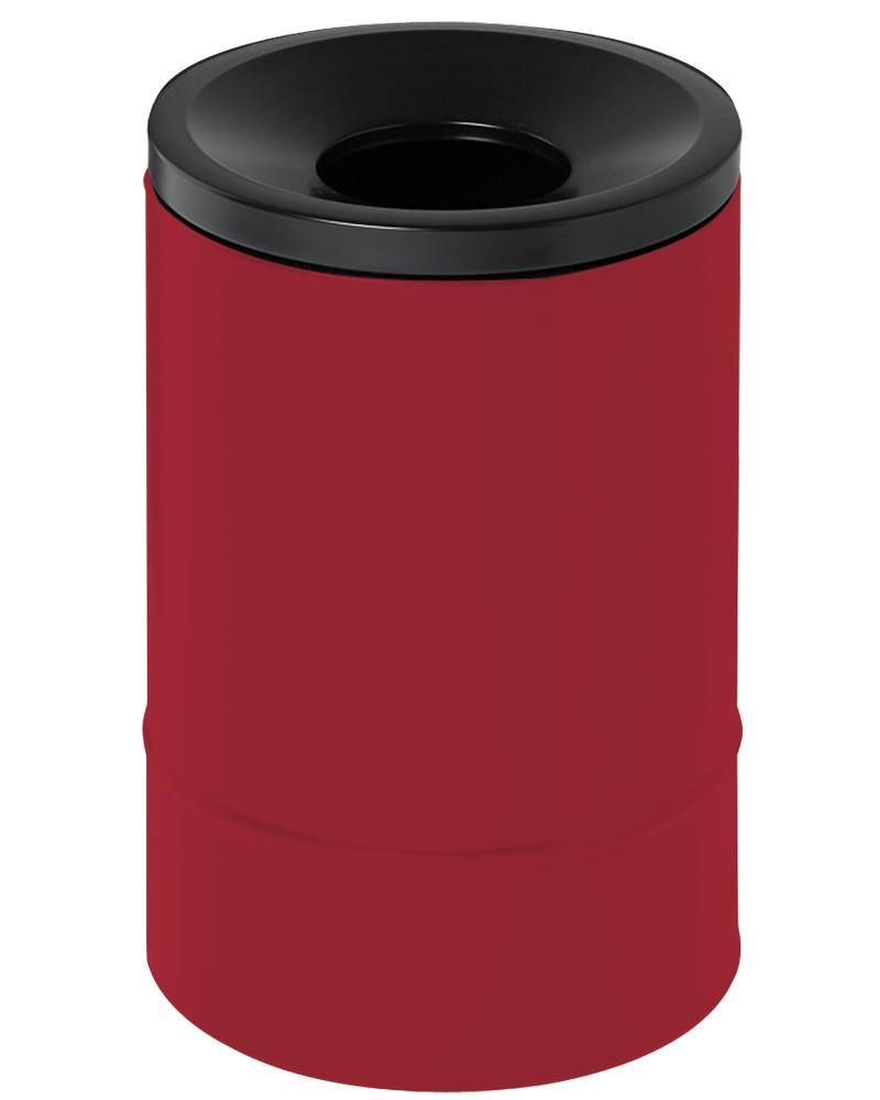 Self-extinguishing waste paper bin, 30 litres, steel, red with black lid