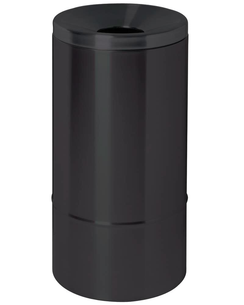Self-extinguishing waste paper bin, 50 litres, steel, black